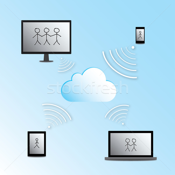 Laptop tablet mobieltje telefoon Stockfoto © rafalstachura
