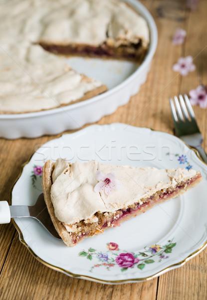 Darab mandula torta felső tányér közelkép Stock fotó © rafalstachura
