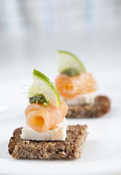 鮭 前菜 ブラウン パン フェタチーズ 石灰 ストックフォト © rafalstachura
