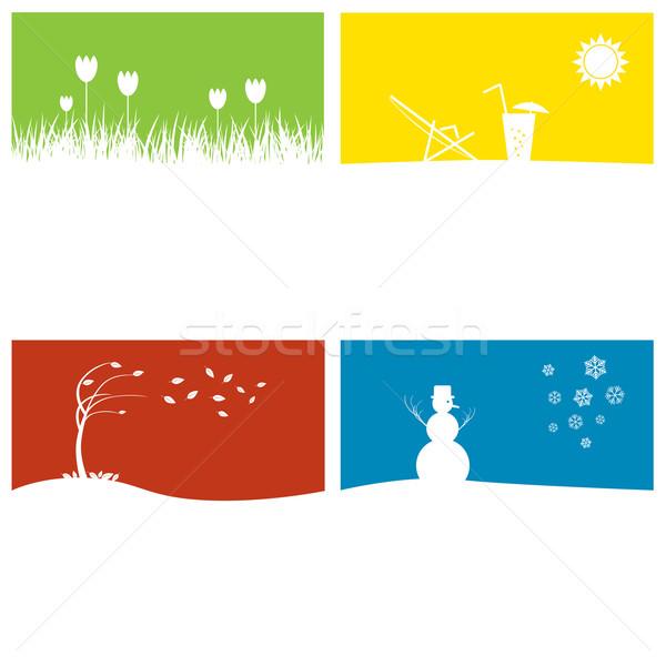 Cztery pory roku cztery sezon kopia przestrzeń wiosną słońce Zdjęcia stock © rafalstachura
