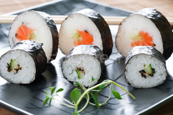 Japon sushi siyah plaka balık akşam yemeği Stok fotoğraf © rafalstachura