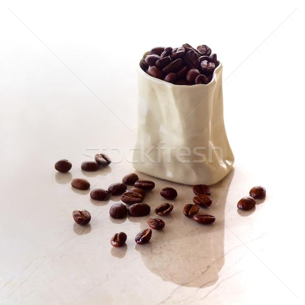 セラミック 袋 コーヒー豆 大理石 表面 ストックフォト © ralanscott