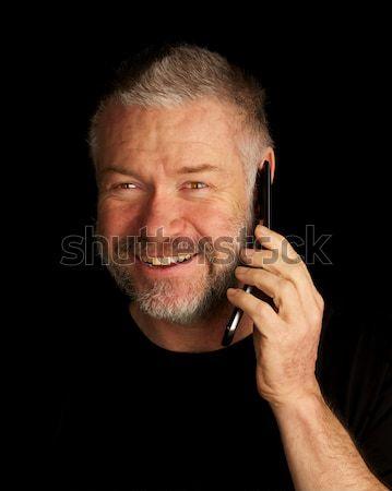 Homme parler souriant noir Photo stock © ralanscott