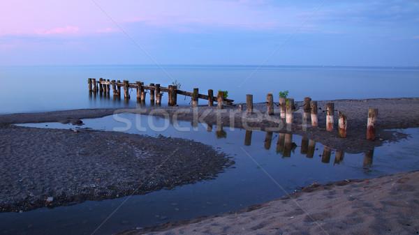 Eski iskele göl ontario akşam bulutlar Stok fotoğraf © ralanscott