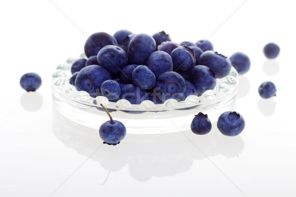 Fraîches bleuets verre isolé blanche couleur Photo stock © ralanscott