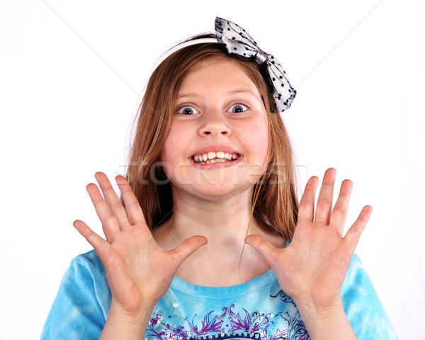 Genç kız büyük beyaz kız yüz Stok fotoğraf © ralanscott