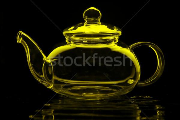 Yeşil çay cam demlik kireç yeşil yalıtılmış Stok fotoğraf © ralanscott