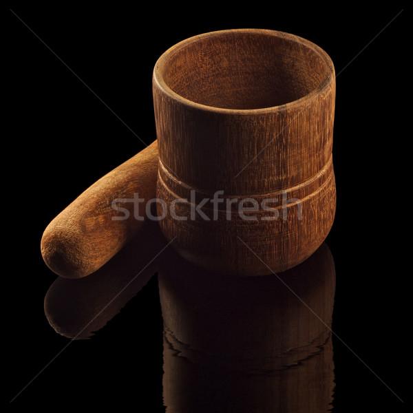 孤立した 黒 反射 広場 フォーマット 木材 ストックフォト © ralanscott
