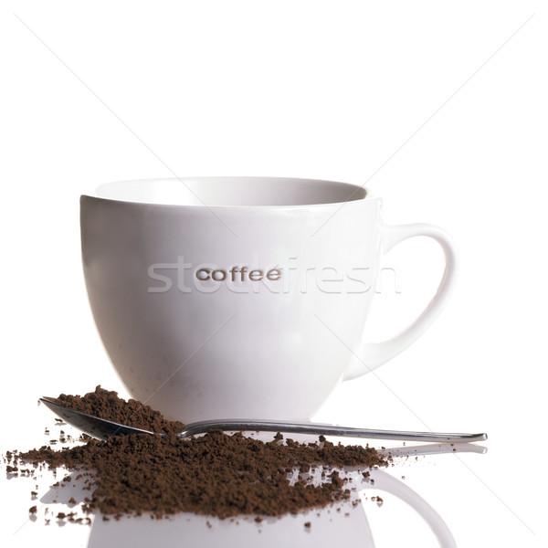 Neskafe beyaz kahve kupa kaşık yalıtılmış kare Stok fotoğraf © ralanscott