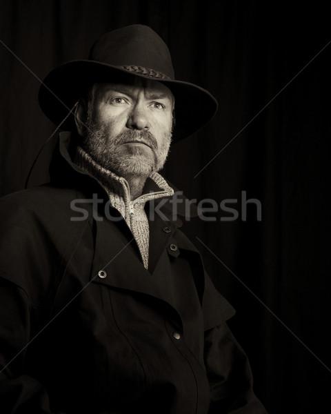 カウボーイ 古い スタイル 肖像 見える ストックフォト © ralanscott