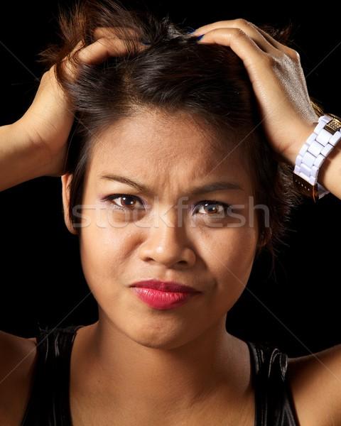 フラストレーション アジア 女性 見える 顔 ストレス ストックフォト © ralanscott