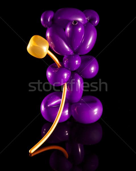 Pourpre ballon ours or fleur isolé Photo stock © ralanscott