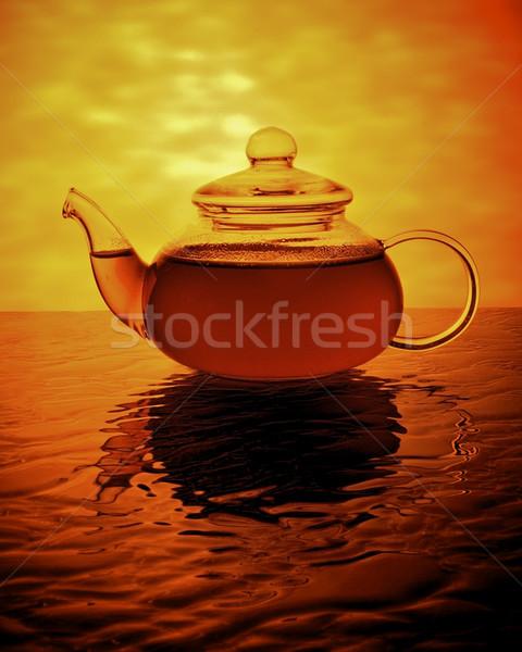 午前 茶 ポット 早朝 金 広場 ストックフォト © ralanscott