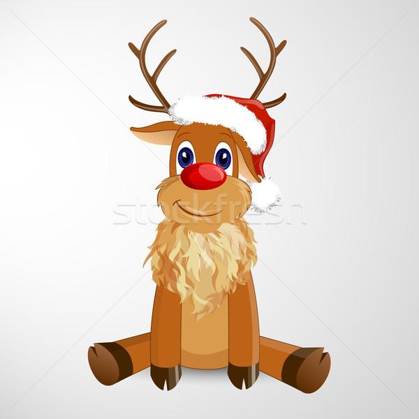 Vektör Noel ren geyiği mutlu arka plan hayvan Stok fotoğraf © RamonaKaulitzki