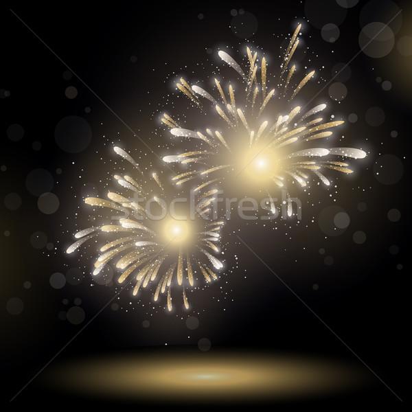 Wektora fajerwerków niebo streszczenie świetle noc Zdjęcia stock © RamonaKaulitzki