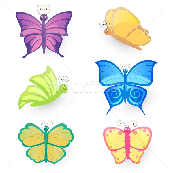 вектора бабочки бабочка коллекция саду лет Сток-фото © RamonaKaulitzki