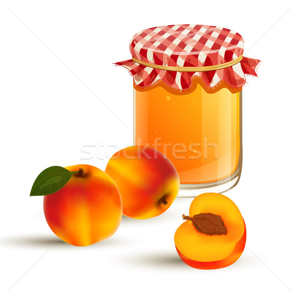 Vector Peaches and Jam Stock photo © RamonaKaulitzki