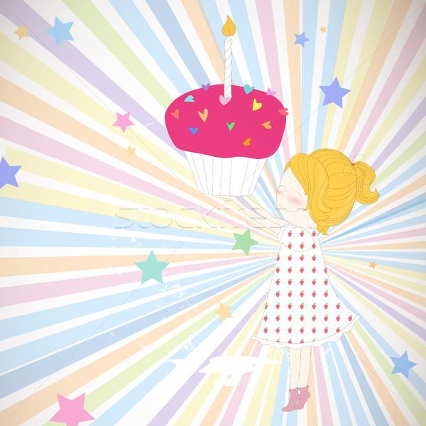 Vektör doğum günü kız kalp sanat Stok fotoğraf © RamonaKaulitzki
