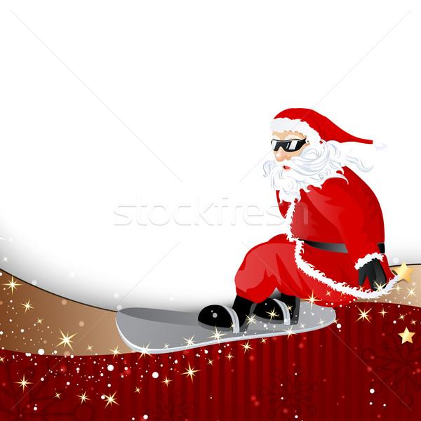 вектора Рождества Дед Мороз сноуборд бумаги улыбка Сток-фото © RamonaKaulitzki