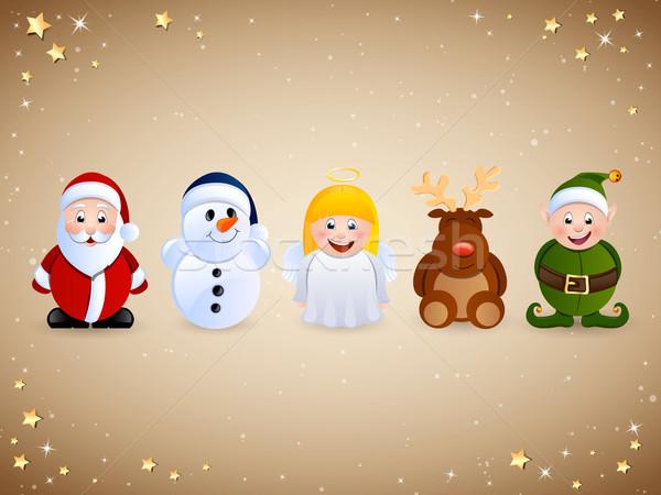 Vektör Noel ayarlamak karakter simgeler Stok fotoğraf © RamonaKaulitzki