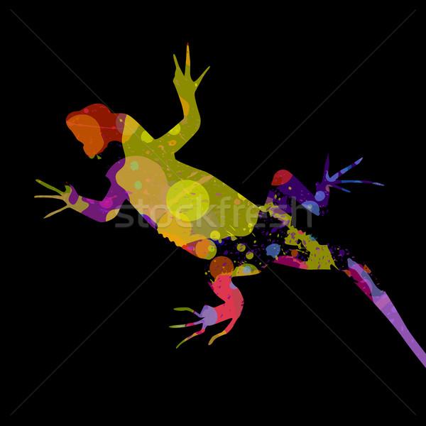 аннотация вектора ящерицы пространстве красный чернила Сток-фото © RamonaKaulitzki