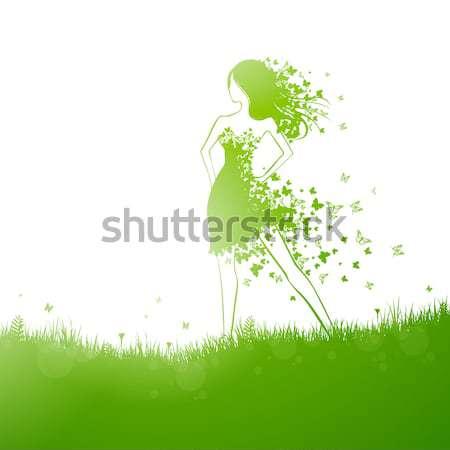 аннотация вектора женщину красивая женщина бабочка платье Сток-фото © RamonaKaulitzki
