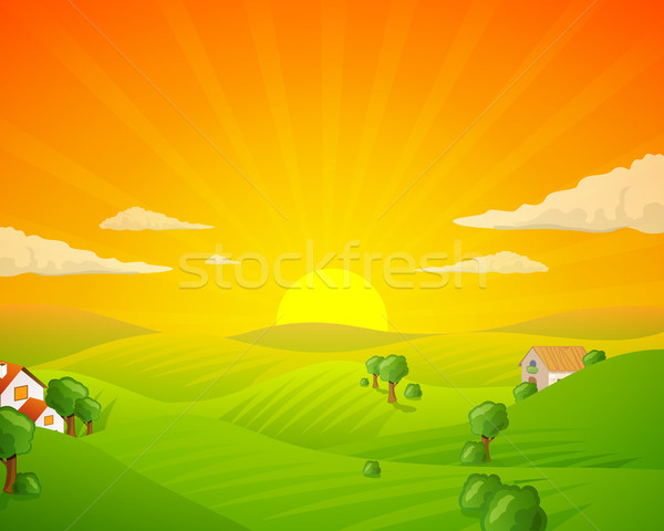 Stok fotoğraf: Vektör · manzara · alanları · tepeler · doğa