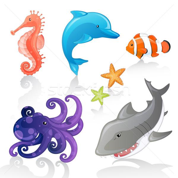 Vektör deniz yaratıklar ayarlamak karikatür dizayn Stok fotoğraf © RamonaKaulitzki