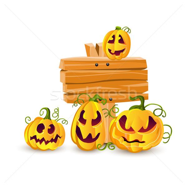 ストックフォト: ベクトル · ハロウィン · カボチャ · 顔 · 木材