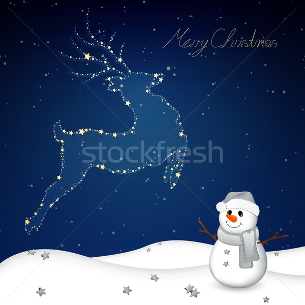 вектора Рождества аннотация северный олень дизайна синий Сток-фото © RamonaKaulitzki