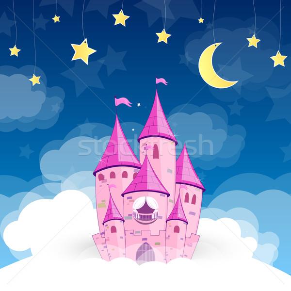вектора Принцесса замок ночь Cartoon башни Сток-фото © RamonaKaulitzki