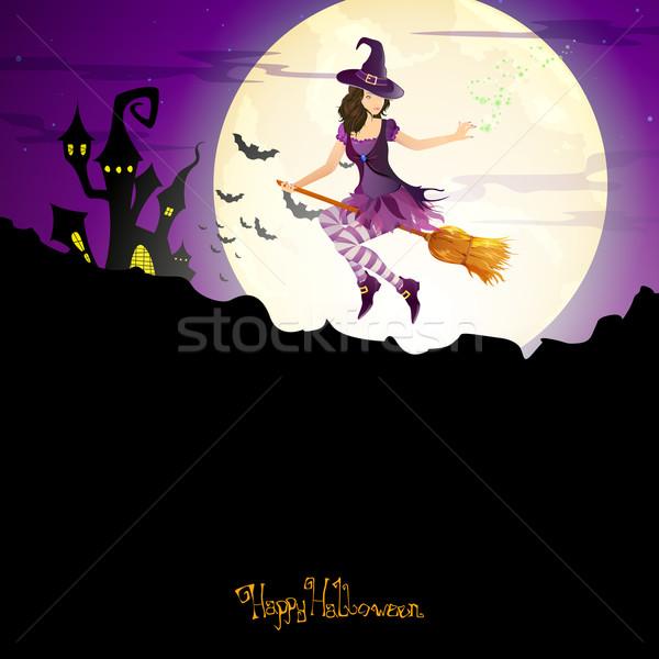 Vektör halloween cadı mutlu gece eğlence Stok fotoğraf © RamonaKaulitzki