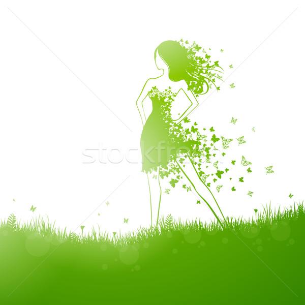 Vektör doğa doğal yeşil güzel kız kadın Stok fotoğraf © RamonaKaulitzki
