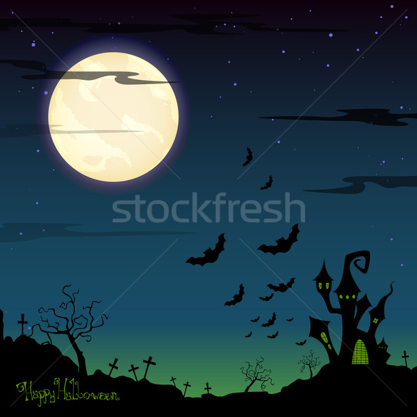 Vector halloween nubes fiesta cruz luna Foto stock © RamonaKaulitzki