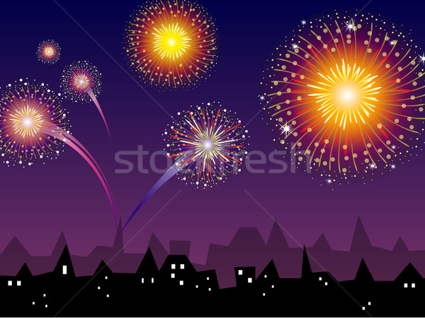 Vector Fireworks Stock photo © RamonaKaulitzki