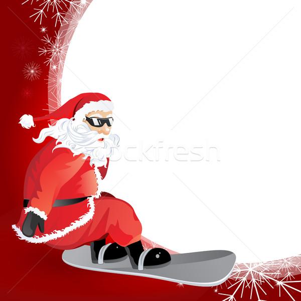 вектора Рождества декоративный Дед Мороз сноуборд бумаги Сток-фото © RamonaKaulitzki