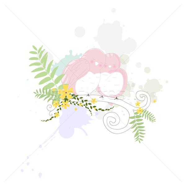 Foto stock: Vetor · aves · dois · doce · flor · primavera