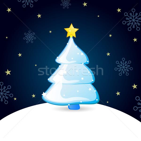 Noel vektör soyut noel ağacı kış star Stok fotoğraf © RamonaKaulitzki