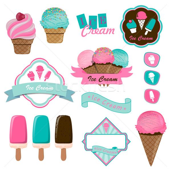 вектора мороженым логотип жетоны Этикетки шоколадом Сток-фото © RamonaKaulitzki