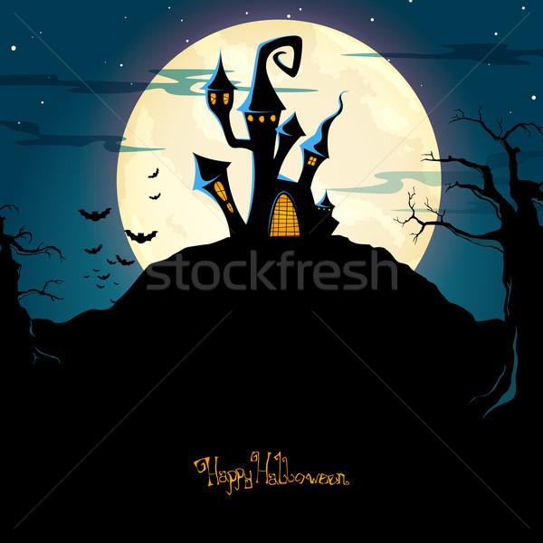 Stockfoto: Vector · halloween · wolken · kinderen · kruis · maan