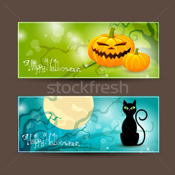 Halloween iki dekoratif afişler ağaç manzara Stok fotoğraf © RamonaKaulitzki
