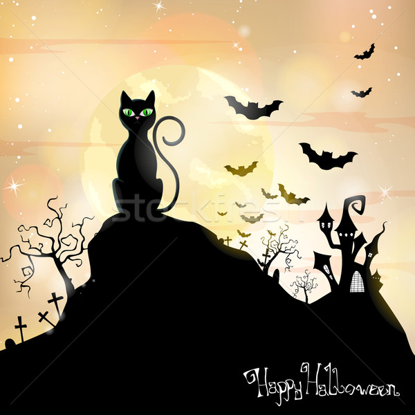 Stockfoto: Vector · halloween · kat · kruis · maan · oranje