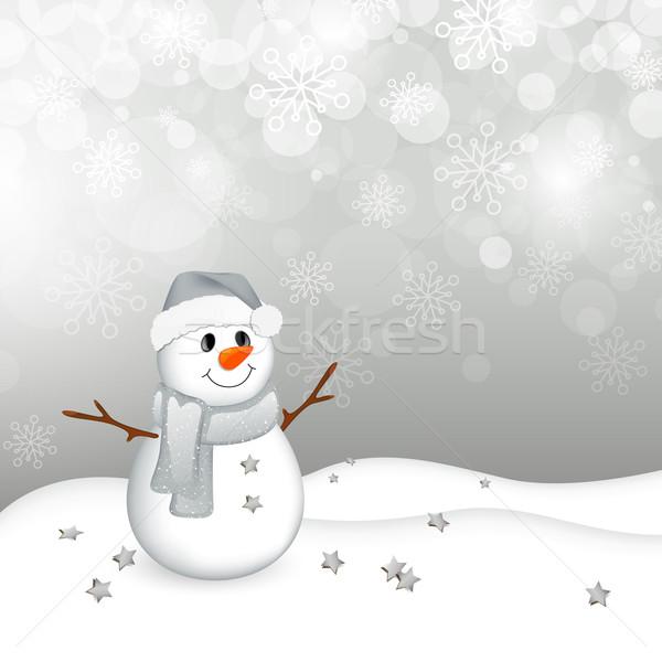 Noel küçük kardan adam kış manzara doku Stok fotoğraf © RamonaKaulitzki