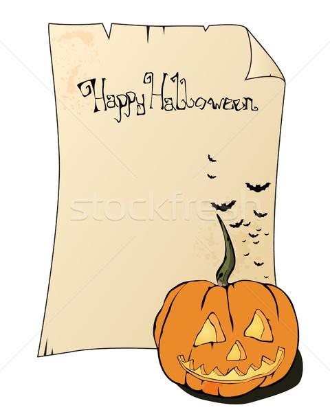 Halloween vektör örnek parşömen kabak eğlence Stok fotoğraf © RamonaKaulitzki