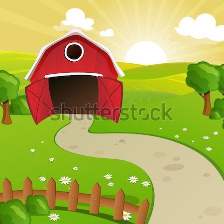 Vector schuur boerderij cartoon weer buitenshuis Stockfoto © RamonaKaulitzki