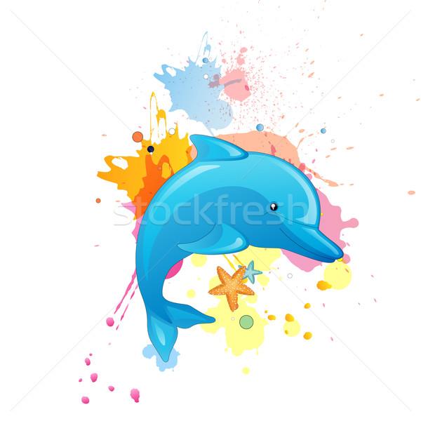 Vector delfines Cartoon agua mar diseno Foto stock © RamonaKaulitzki