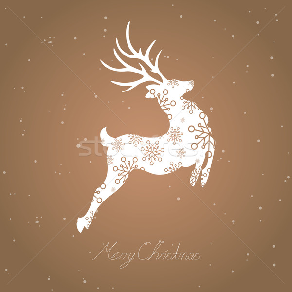 Vector Navidad resumen reno flor feliz Foto stock © RamonaKaulitzki