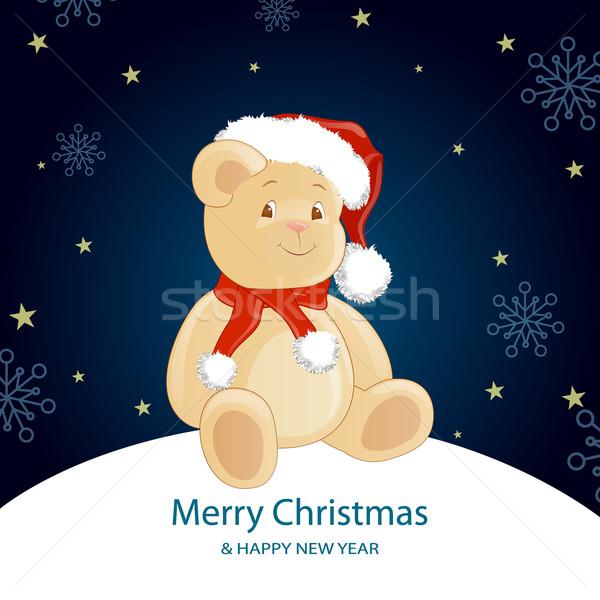 Vektör Noel oyuncak ayı mutlu dizayn arka plan Stok fotoğraf © RamonaKaulitzki