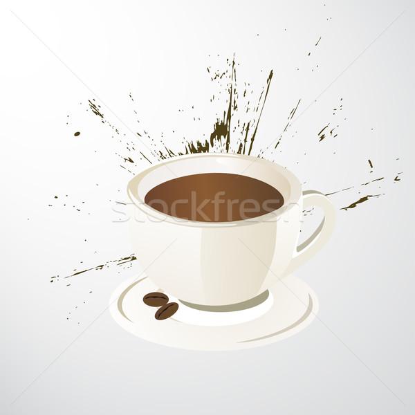 вектора Кубок чашку кофе кофе аннотация краской Сток-фото © RamonaKaulitzki