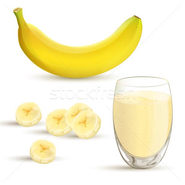 Vector plátano elementos frutas salud leche Foto stock © RamonaKaulitzki